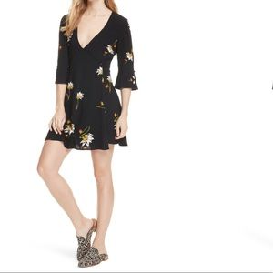 Free People Time On My Side Dress Black Floral XS